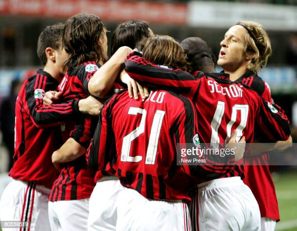 Kaka of AC Milan and team mates celebrate a goal during the Serie A match between Milan and Cagliari at the Stadio San Siro on April 5 2008 in Milan...