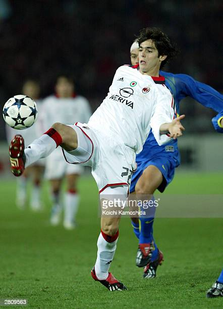 Kaka of AC Milan battles with the opposition during the EuropeanSouth American Cup club soccer championship match at the Yokohama International...