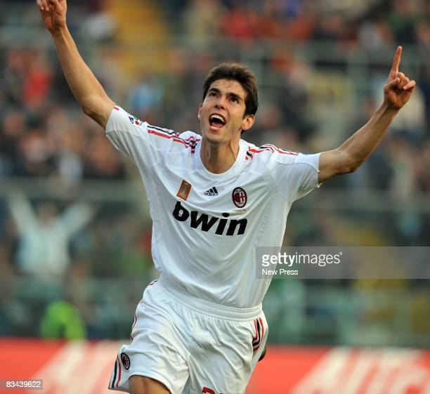 Kaka of AC Milan celebrates after scoring goal during the Serie A match between Atalanta and Milan at the Stadio Azzuri d Italia on October 26 2008...