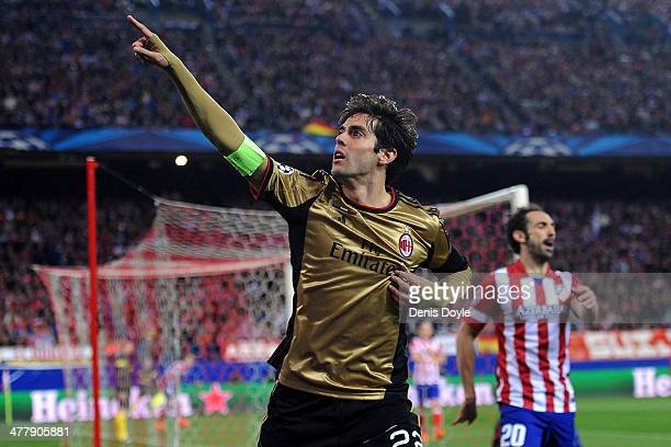 Kaka of AC Milan celebrates after scoring his team's first goal during the UEFA Champions League Round of 16 second leg match between Club Atletico...