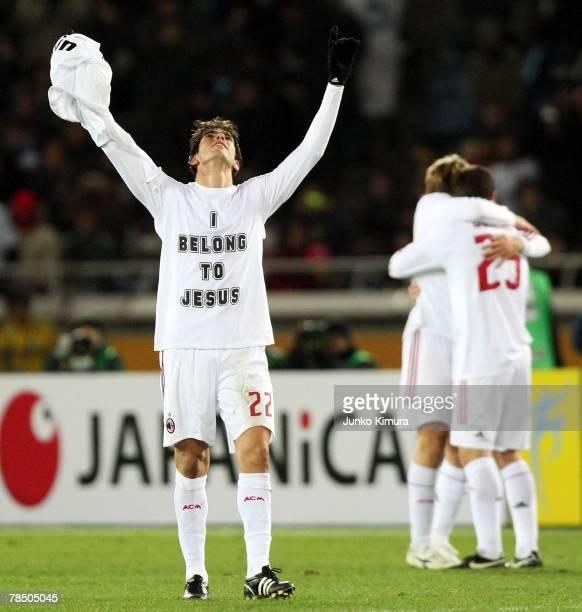 Kaka of AC Milan celebrates after winning the FIFA Club World Cup final against Boca Juniors and AC Milan at the International Stadium Yokohama on...