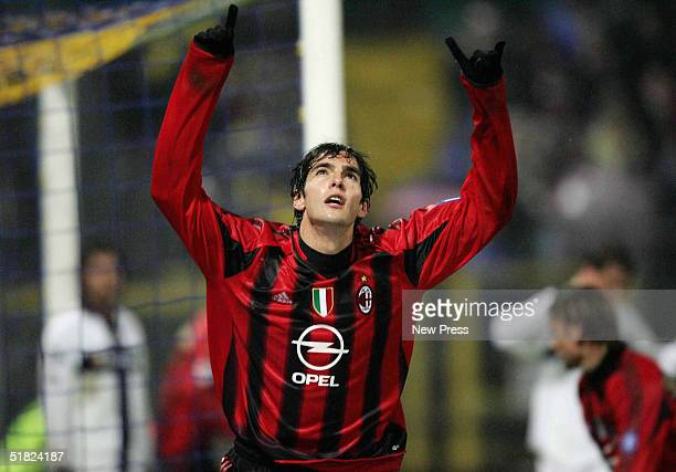Kaka of AC Milan celebrates his 79th minute goal against Parma during Serie A League match between Parma and AC Milan on December 4 2004 in Parma...