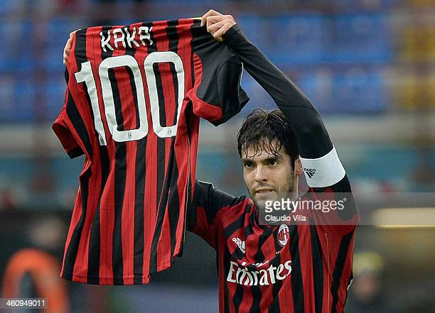 Kaka of AC Milan celebrates scoring his 100th goal for the club during the Serie A match between AC Milan and Atalanta BC at San Siro Stadium on...