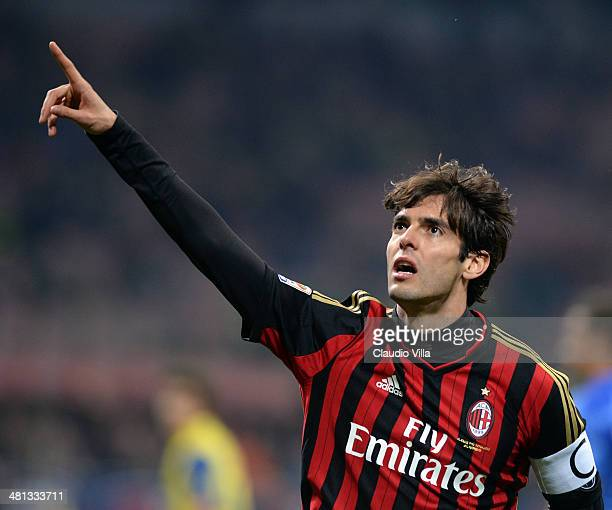 Kaka of AC Milan celebrates scoring the third goal during the Serie A match between AC Milan and AC Chievo Verona at San Siro Stadium on March 29...