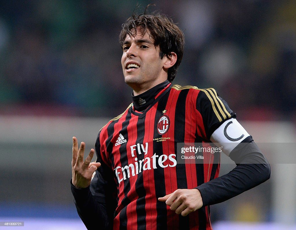 Kaka of AC Milan celebrates scoring the third goal during the Serie A match between AC Milan and AC Chievo Verona at San Siro Stadium on March 29, 2014 in Milan, Italy.