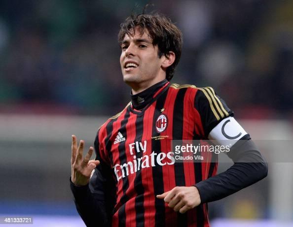 Kaka of AC Milan celebrates scoring the third goal during the Serie A match between AC Milan and AC Chievo Verona at San Siro Stadium on March 29...