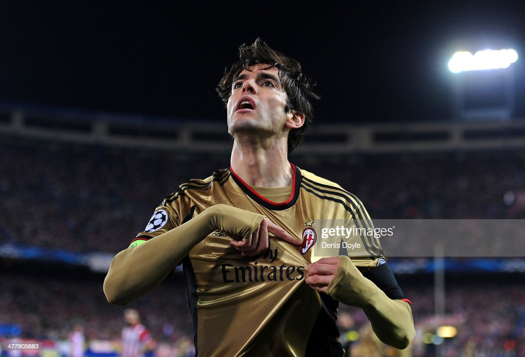 Kaka of AC Milan celebrates with after scoring his team's first goal during the UEFA Champions League Round of 16, second leg match between Club Atletico de Madrid and AC Milan at Vicente Calderon Stadium on March 11, 2014 in Madrid, Spain.