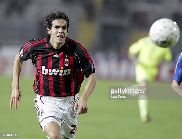 Kaka of AC Milan chases down the ball during the Serie A match between Empoli and AC Milan at the Stadio CCastellani on November 18 2006 in Empoli...