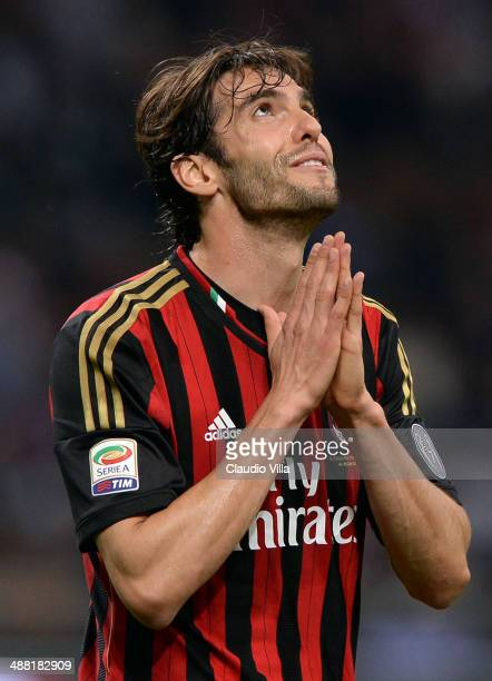 Kaka of AC Milan reacts during the Serie A match between AC Milan and FC Internazionale Milano at Stadio Giuseppe Meazza on May 4 2014 in Milan Italy