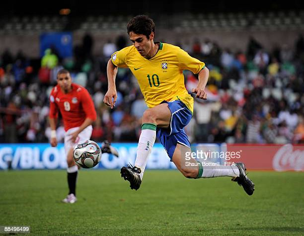 Kaka of Brazil breaks forward with the ball during the FIFA Confederations Cup match between Brazil and Egypt at Free State Stadium on June 15 2009...