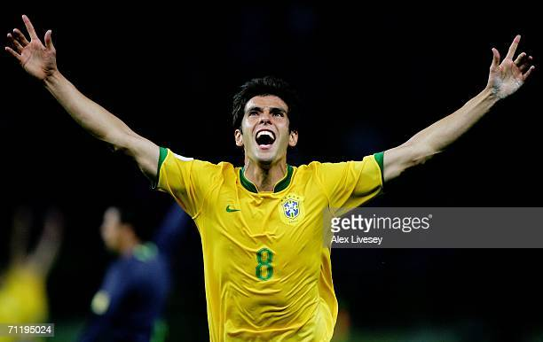 Kaka of Brazil celebrates scoring the opening goal during the FIFA World Cup Germany 2006 Group F match between Brazil and Croatia played at the...