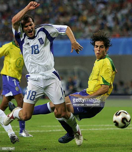 Kaka of Brazil challenge for the ball with Ioannis Goumas of Greece during the FIFA Confederations Cup 2005 Match between Brazil and Greece on June...