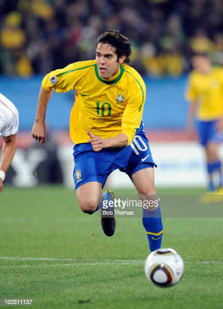 Kaka of Brazil during the 2010 FIFA World Cup South Africa Round of Sixteen match between Brazil and Chile at Ellis Park Stadium on June 28 2010 in...