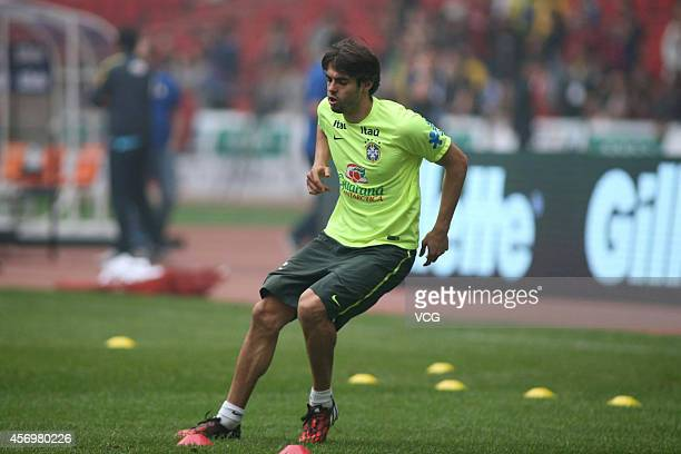 Kaka of Brazil in action during a practice session ahead of Argentina v Brazil at the Bird's Nest during Super Clasico de las Americas on October 10...