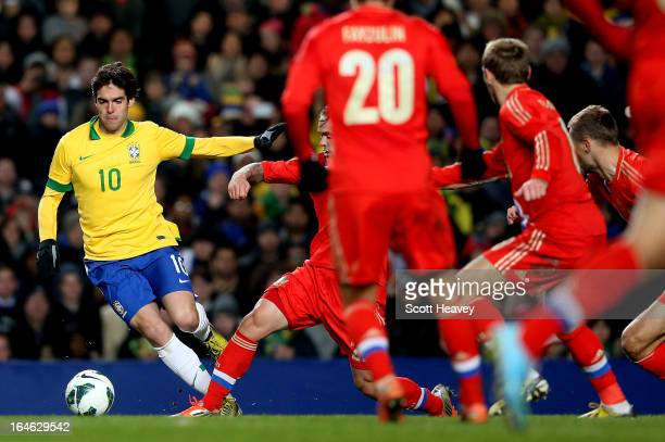 Kaka of Brazil in action during an International Friendly between Brazil and Russia at Stamford Bridge on March 25 2013 in London England