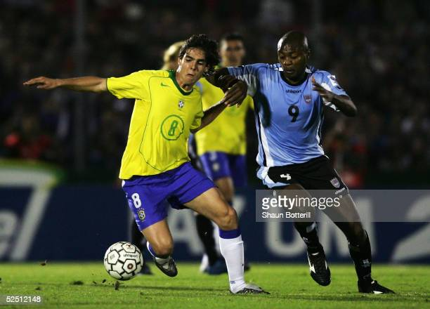 Kaka of Brazil is challenged by Zalayeta of Uruguay during the 2006 World Cup Qualifier South American Group match between Uruguay and Brazil at the...