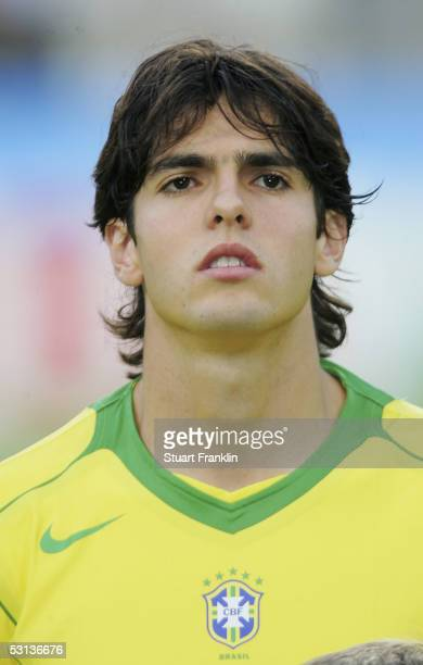 Kaka of Brazil looks on at The FIFA Confederations Cup Match between Japan and Brazil at The Rhein Energy Stadium on June 22 2005 in Cologne Germany