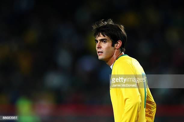 Kaka of Brazil looks on during the FIFA Confederations Cup Semi Final match beween Brazil and South Africa at Ellis Park on June 25 2009 in...