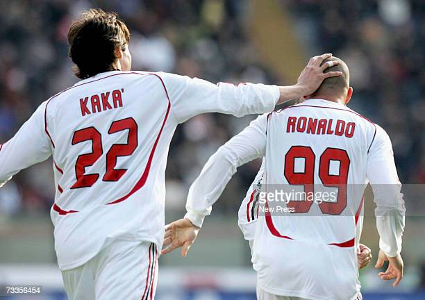 Kaka of Milan celebrates the goal of Ronaldo during the Serie A match between Siena and Milan on February 17 2007 in Siena Italy