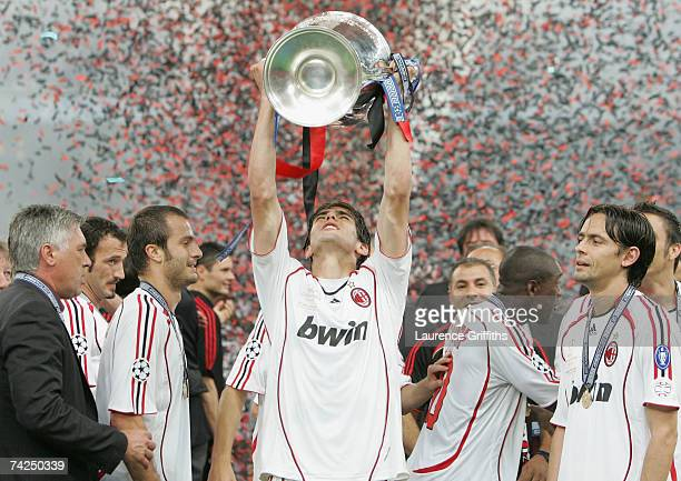 Kaka of Milan celebrates with the trophy following his teams 21 victory during the UEFA Champions League Final match between Liverpool and AC Milan...