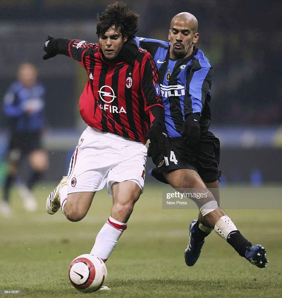 inter milan v ac milan photos and images getty images kaka of milan clashes with juan sebastian veron of inter during the serie a match between
