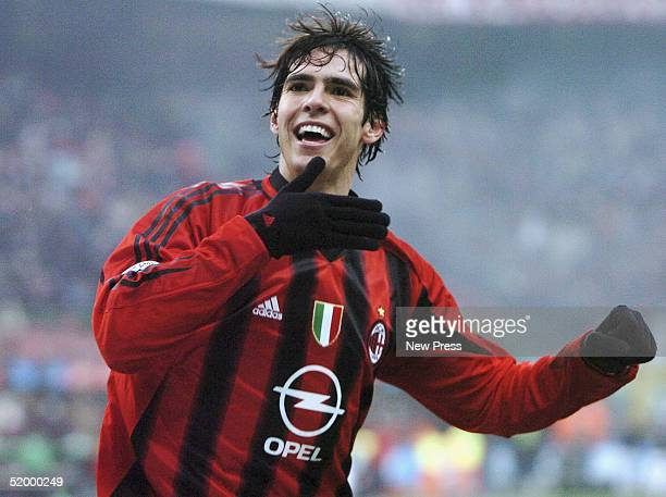 Kaka of Milan competes celebrates a goal during the serie A match between Milan and Udinese at Stadio Giuseppe Meazza stadium on January 16 2005 in...