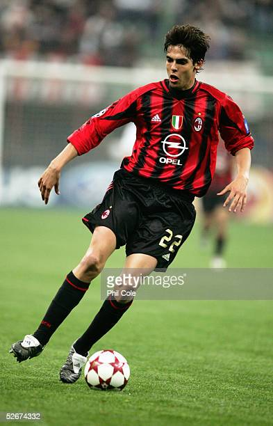 Kaka of Milan in action during the Champions League Quarter Final First leg match between AC Milan and Inter Milan at the San Siro on April 6 2005 in...