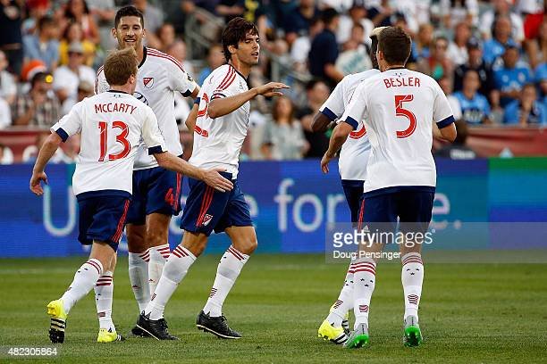 Kaka of MLS AllStars celebrates after striking a penalty kick for a goal in the 20th minute to take a 10 lead over the Tottenham Hotspur during the...