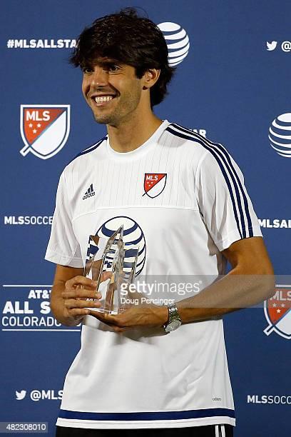 Kaka of MLS AllStars receives the MVP trophy for the 2015 ATT Major League Soccer AllStar game at Dick's Sporting Goods Park on July 29 2015 in...