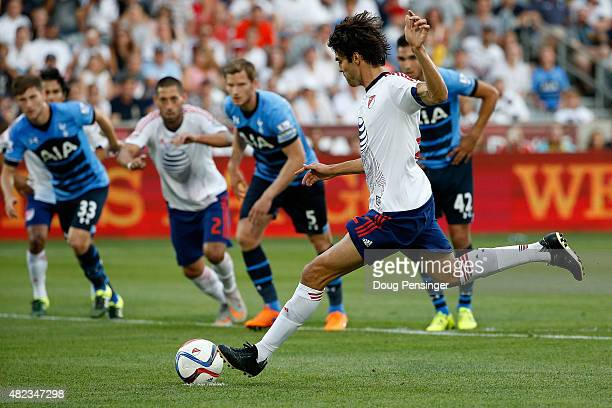 Kaka of MLS AllStars strikes a penalty kick for a goal in the 20th minute to take a 10 lead over the Tottenham Hotspur during the 2015 ATT Major...
