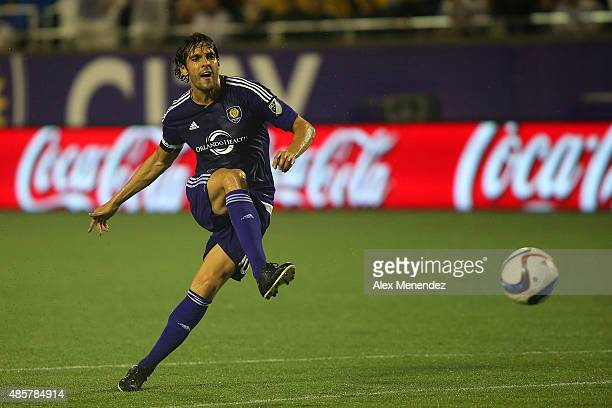 Kaka of Orlando City SC attempts a shot on goal during an MLS soccer match between the Chicago Fire and the Orlando City SC at the Orlando Citrus...