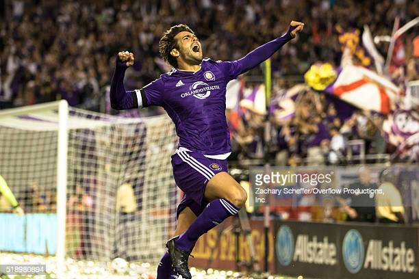 Kaka of Orlando City SC celebrates a goal in the second half during a game against the Portland Timbers at the Citrus Bowl on April 3 2016 in Orlando...