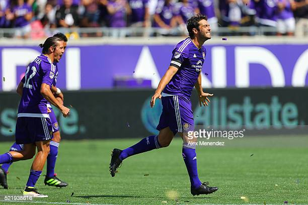 Kaka of Orlando City SC celebrates after scoring a goal on a penalty kick during a MLS soccer match at the Orlando Citrus Bowl on April 17 2016 in...