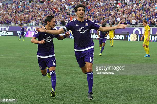 Kaka of Orlando City SC celebrates his goal during the Lamar Hunt US Open soccer match between the Columbus Crew and Orlando City SC at the Orlando...