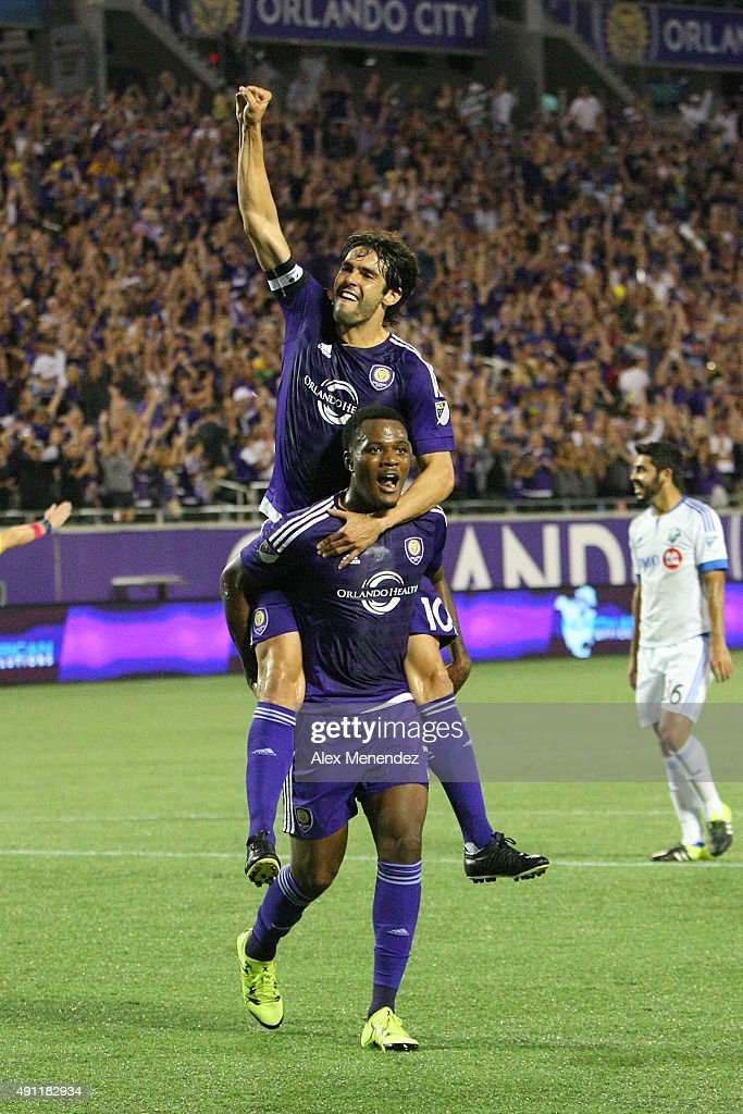 Kaka #10 of Orlando City SC celebrates with goal scorer Cyle Larin #21 of Orlando City SC during an MLS soccer match between the Montreal Impact and the Orlando City SC at the Orlando Citrus Bowl on October 3, 2015 in Orlando, Florida.