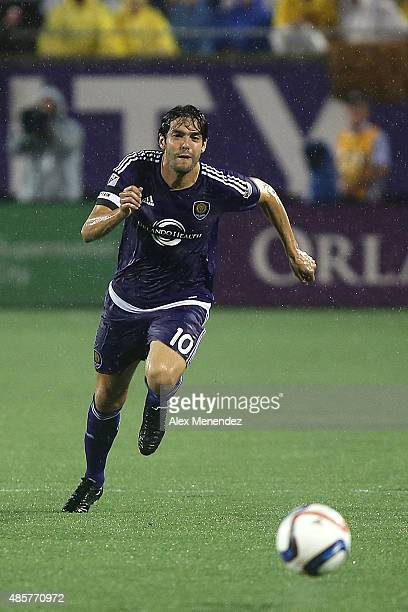 Kaka of Orlando City SC chases a loose ball during a MLS soccer match between the Chicago Fire and the Orlando City SC at the Orlando Citrus Bowl on...
