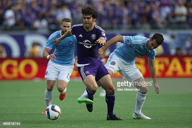 Kaka of Orlando City SC dribbles the ball during an MLS soccer match between the New York City FC and the Orlando City SC at the Orlando Citrus Bowl...