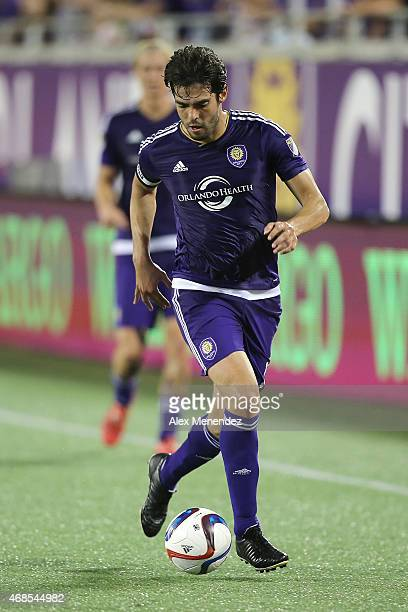 Kaka of Orlando City SC dribbles the ball up the sideline during a MLS soccer match between DC United and the Orlando City SC at the Orlando Citrus...
