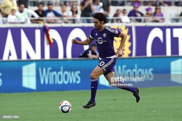 Kaka of Orlando City SC dribbles with the ball during an MLS soccer match between the New York City FC and the Orlando City SC at the Orlando Citrus...