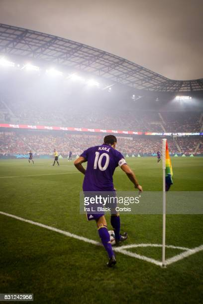 Kaka of Orlando City SC gets set to take the corner kick during the MLS match between New York Red Bulls and Orlando City SC at the Red Bull Arena on...