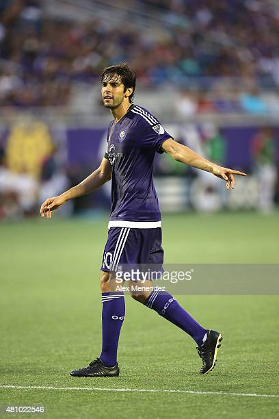 Kaka of Orlando City SC gives directions to his teammates during an International friendly soccer match between West Bromwich Albion and the Orlando...