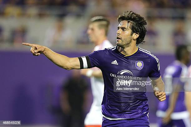 Kaka of Orlando City SC gives instructions to his teammates during a MLS soccer match between DC United and the Orlando City SC at the Orlando Citrus...