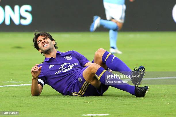 Kaka of Orlando City SC goes down with a leg injury during a MLS soccer match between New York City FC and Orlando City SC at the Orlando City...