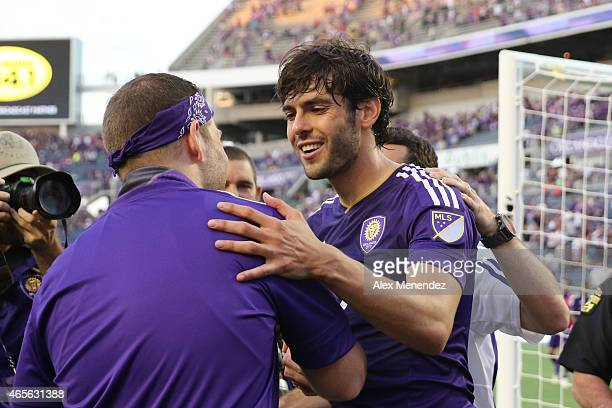 Kaka of Orlando City SC greets a fan after an MLS soccer match between the New York City FC and the Orlando City SC at the Orlando Citrus Bowl on...