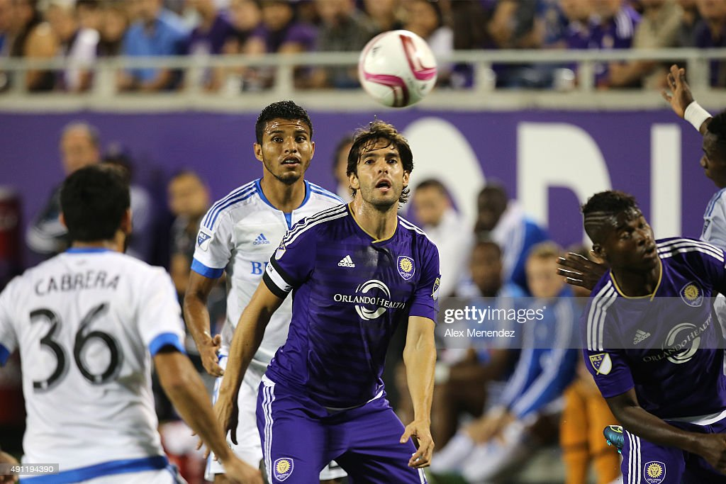 Kaka #10 of Orlando City SC is seen as he watches the ball during an MLS soccer match between the Montreal Impact and the Orlando City SC at the Orlando Citrus Bowl on October 3, 2015 in Orlando, Florida. Orlando won the match 2-1.
