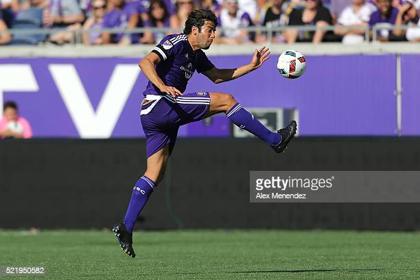 Kaka of Orlando City SC kicks the ball during a MLS soccer match against the New England Revolution at the Orlando Citrus Bowl on April 17 2016 in...