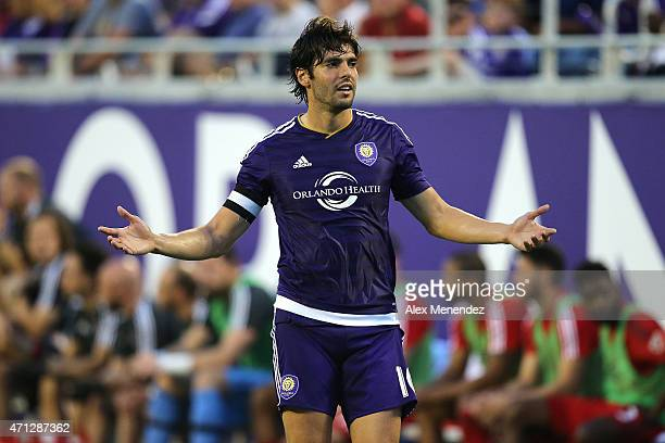 Kaka of Orlando City SC questions the referee over a call during an MLS soccer match between Toronto FC and the Orlando City SC at the Orlando Citrus...