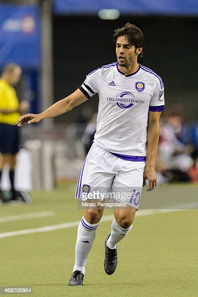 Kaka of Orlando City SC runs during the MLS game against the Montreal Impact at the Olympic Stadium on March 28 2015 in Montreal Quebec Canada The...