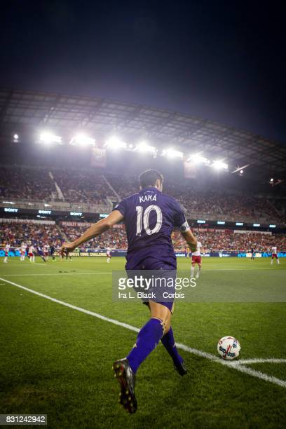 Kaka of Orlando City SC takes the corner kick during the MLS match between New York Red Bulls and Orlando City SC at the Red Bull Arena on August 12...
