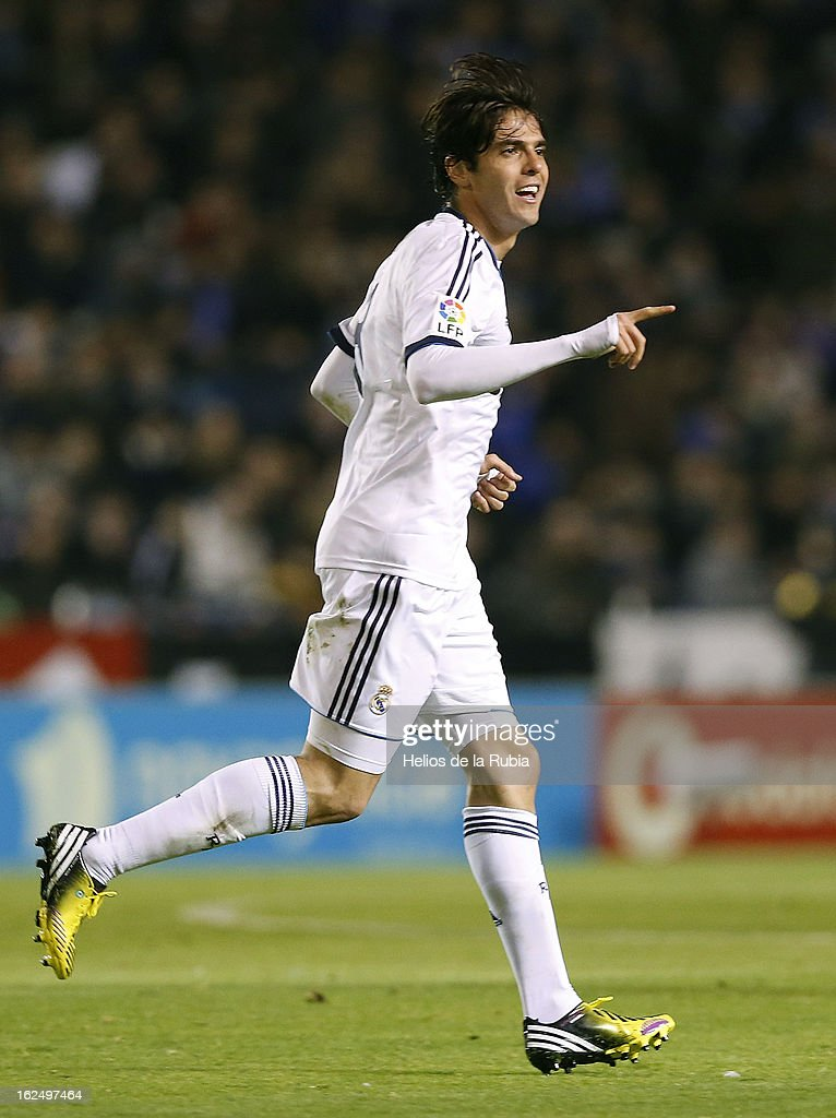 Kaka of Real Madrid celebrates after scoring during the La Liga match between Deportivo La Coruna and Real Madrid at Riazor Stadium on February 23, 2013 in La Coruna, Spain.